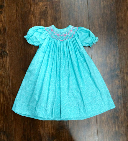 Girls' Aqua Floral Smocked Dress with Pink and Sea Pearls