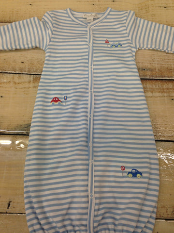 Kissy Kissy Lt Blue Summer Wheels Stripe Converter Gown