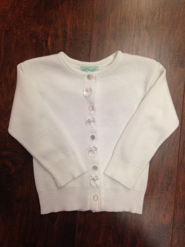 Girls' White Cardigan with Satin Bow Detail