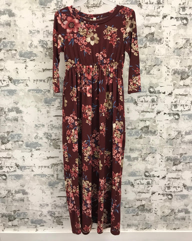 Tween Floral 3/4 Sleeve Burgundy Maxi Dress