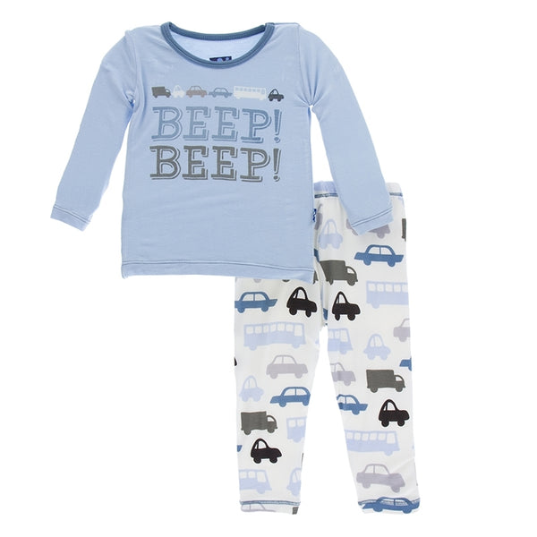 Kickee pants Natural Cars and Trucks Pajama Set