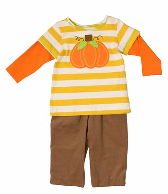 Boys Pumpkin Applique Pants Set