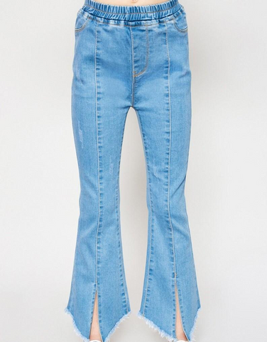 Tween Slit Flare Distressed Jeans