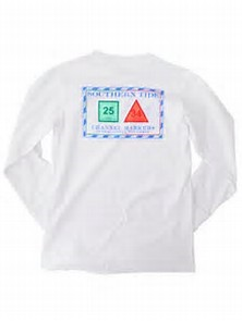Southern Tide Classic White Youth Long Sleeve Channel Marker Tee