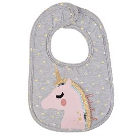 Mud Pie Gray Unicorn Bib