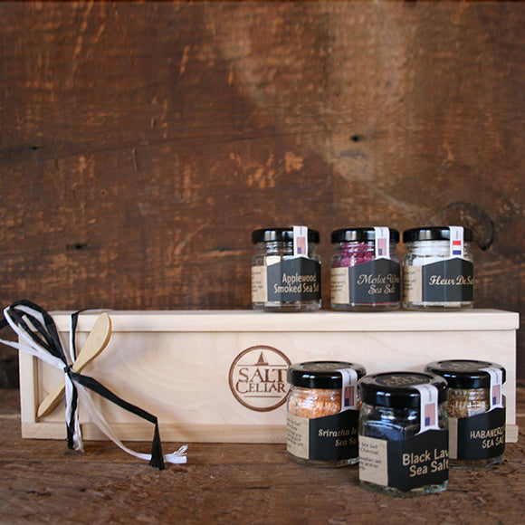 Six Gourmet Salts with Cedar Box
