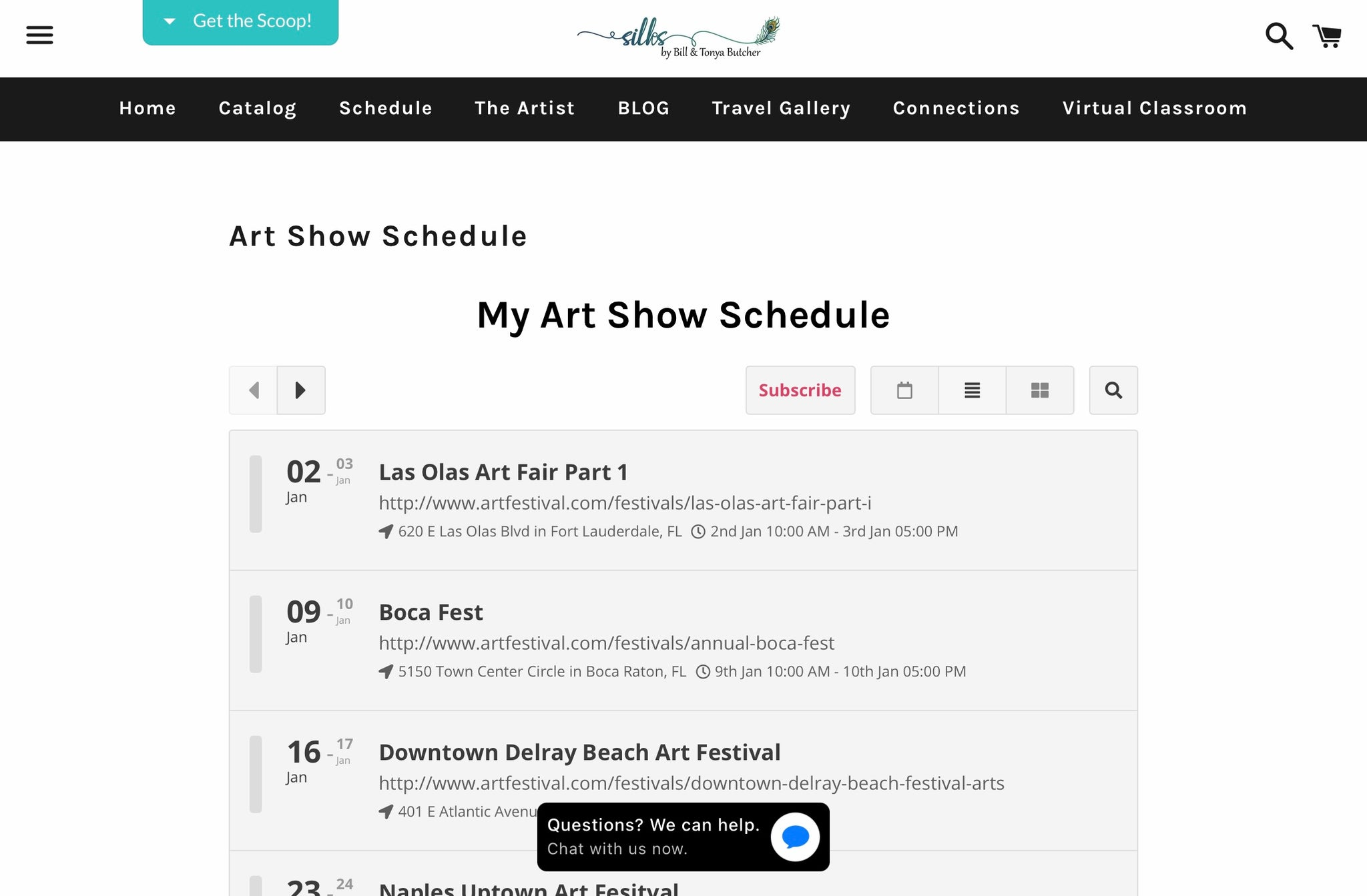 Our art show schedule....