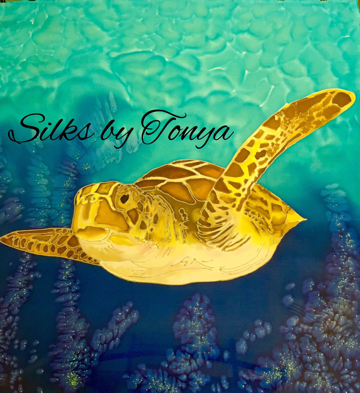 Sea Turtle - Hand Painted Silk Wrap