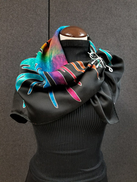 Pouring Party - Hand Painted Silk Scarf