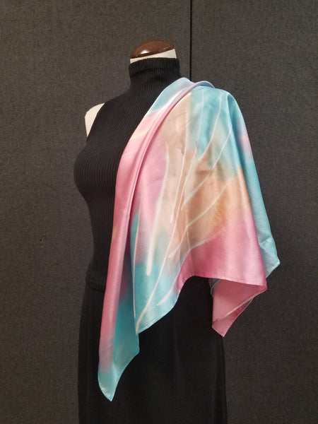 Palm in Pastel - Hand Painted Silk Scarf / Wrap