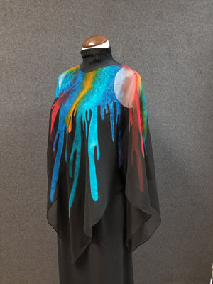Bucket O Paint - Hand Painted Silk Poncho