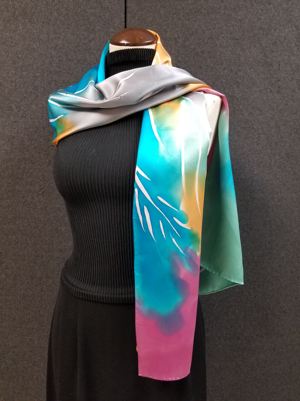 Palm In Tropics - Hand Painted Silk Scarf