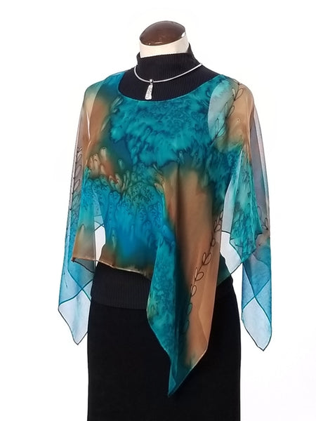 Golden Shoots Poncho Small - Hand Painted Silk Poncho