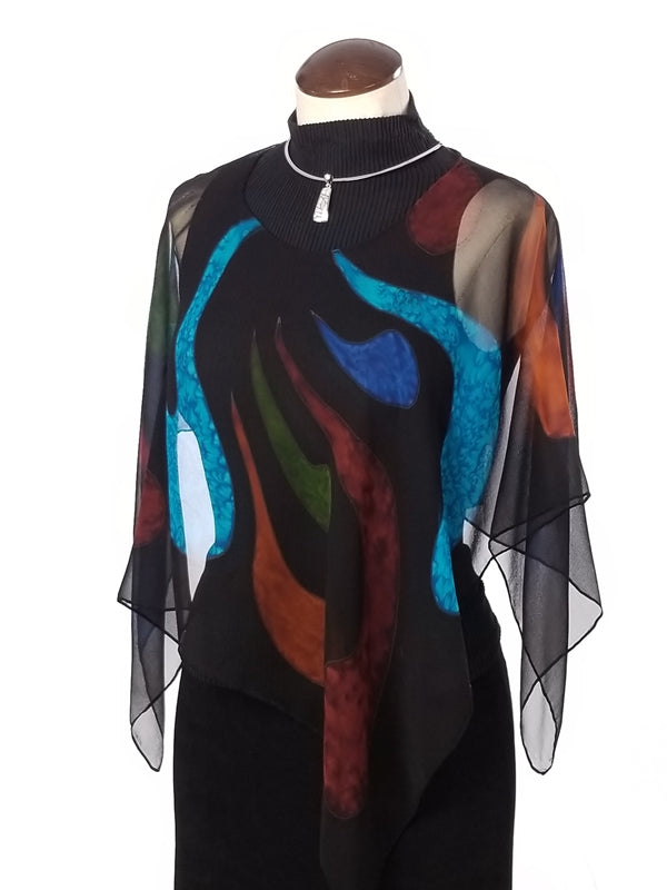 Stained Glass Poncho Small - Hand Painted Silk Poncho