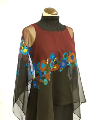 Circles in the Middle Poncho Large - Hand Painted Silk Poncho