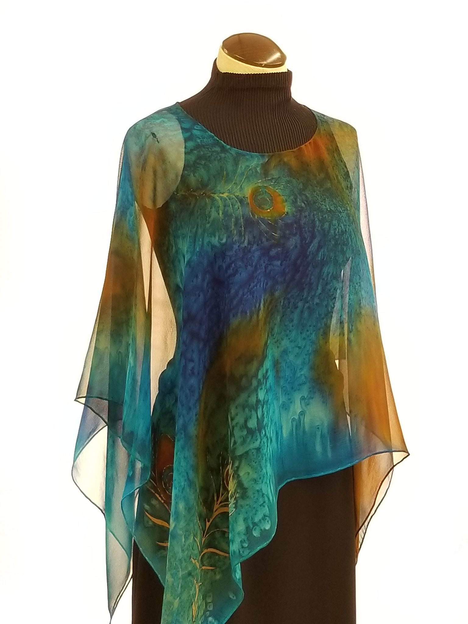 Peacock Flowers Poncho - Hand Painted Silk Poncho