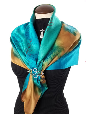 "Golden Shoots 35"" - Hand Painted Silk Scarf"