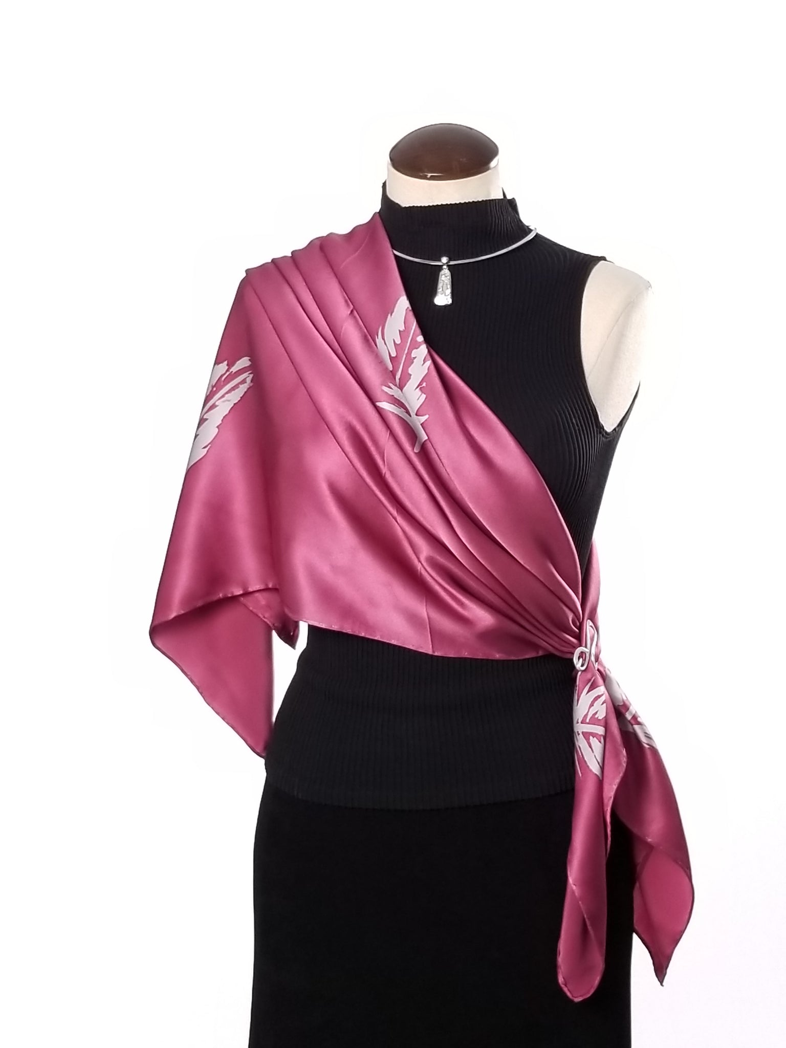Pink Champagne - Hand Painted Silk Scarf / Wrap