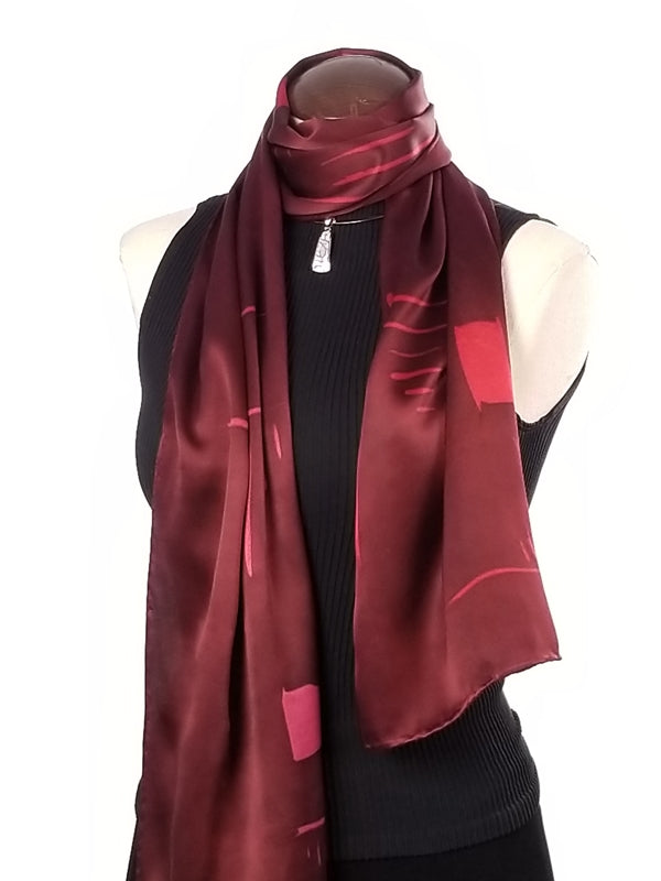 Burgundy dreams - Hand Painted Silk Scarf / Wrap