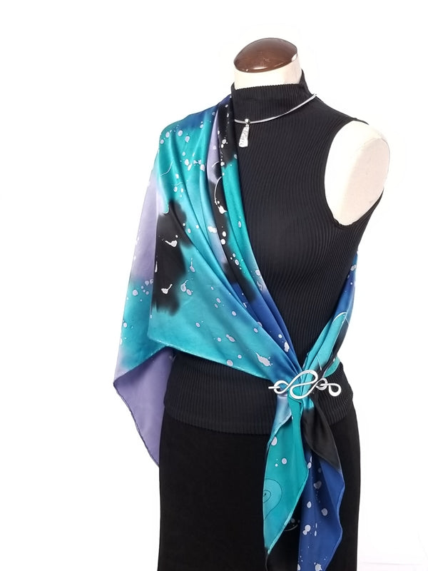 Galaxy Large- Hand Painted Silk Scarf / Wrap