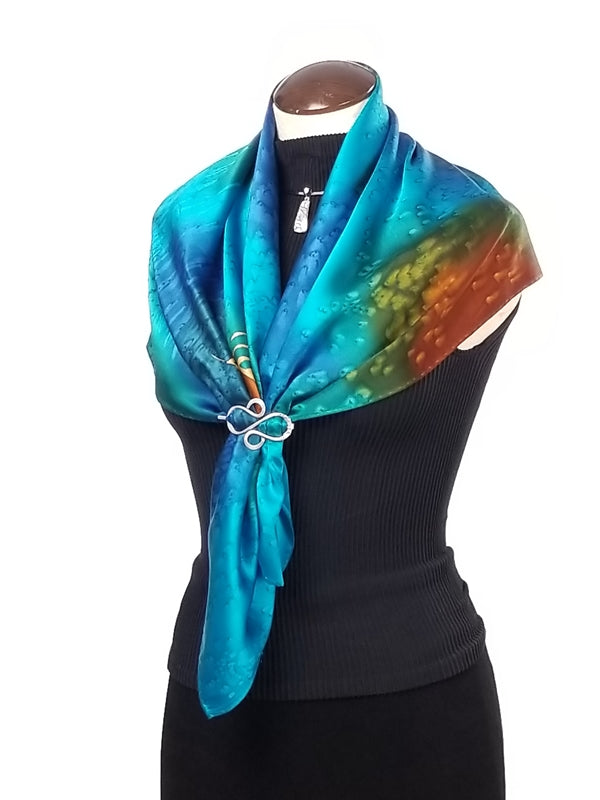 Peacock Flowers - Hand Painted Silk Scarf