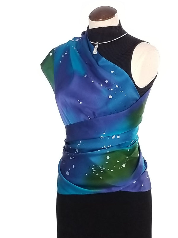 Galaxy 14x72 - Hand Painted Silk Scarf / Wrap
