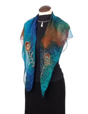 Peacock Flowers Poncho Small - Hand Painted Silk Poncho