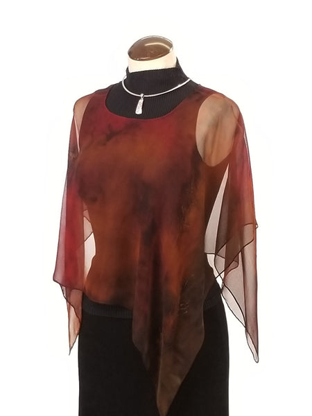 Autumn escape, hand painted silk poncho small
