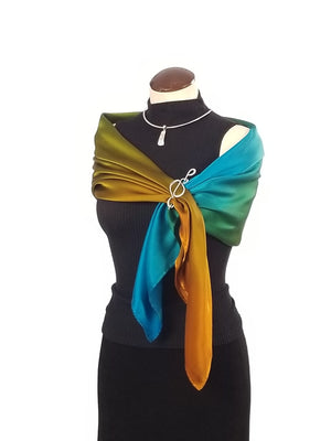 Blue & Gold Macaw - Hand Painted Silk Scarf / Wrap