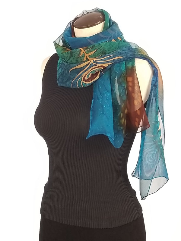 Peacock Madness Shear - Hand Painted Silk Scarf