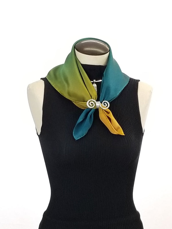 Gold to Blue Transition Small - Hand Painted Silk Scarf