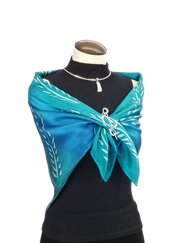 Blue Fern - Hand Painted Silk Scarf / Wrap