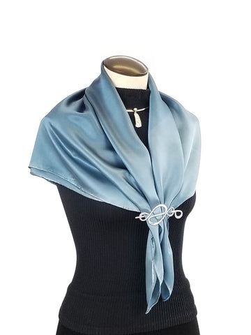 Denim Dreams - Hand Painted Silk Scarf / Wrap