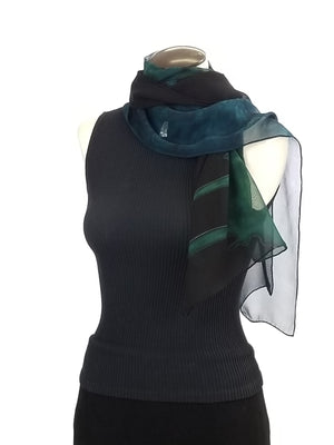 Emerald to Sapphire Paint Party - Hand Painted Silk Scarf