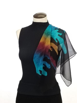 "Paint Party 22"" - Hand Painted Silk Scarf"