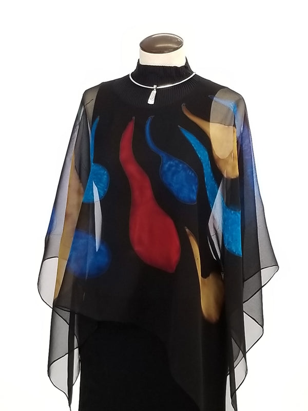 Stained Glass Poncho - Hand Painted Silk Poncho