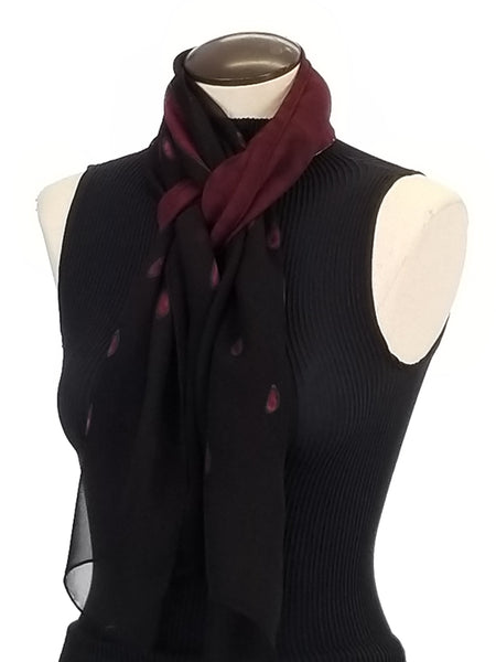 Burgundy Dots - Hand Painted Silk Scarf