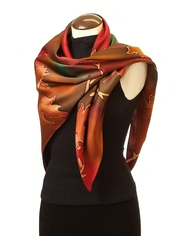A walk in the woods - Hand Painted Silk Scarf / Wrap