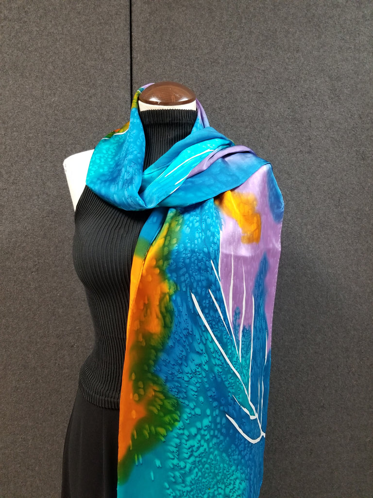 Rain Forest - Hand Painted Silk Scarf