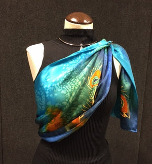 Peacock Madness - Hand Painted Silk Scarf