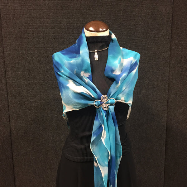 Heaven & Earth - Hand Painted Silk Scarf / Wrap