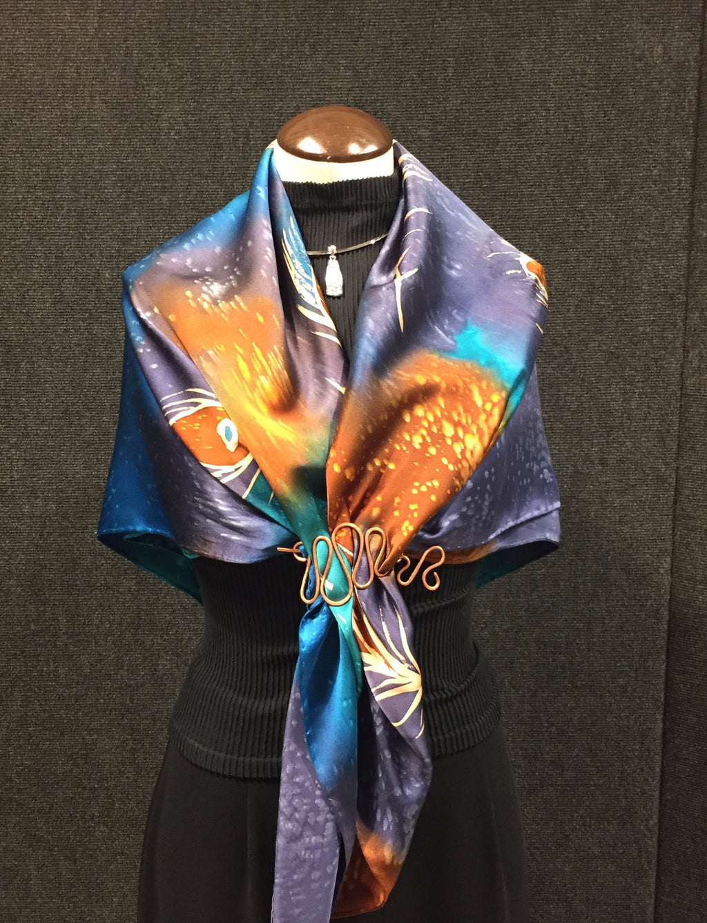 Peacock Purple Flowers Large - Hand Painted Silk Scarf / Wrap