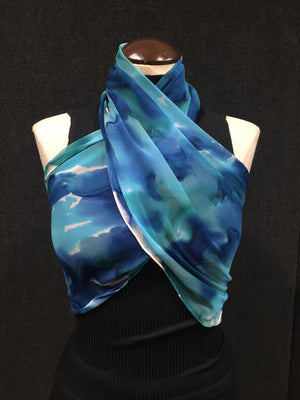Earth & Sky - Hand Painted Silk Scarf