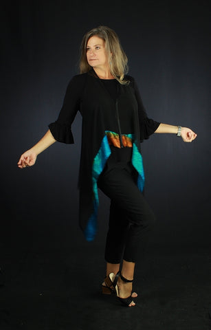 Peacock Madness - Hand Painted Silk Vest