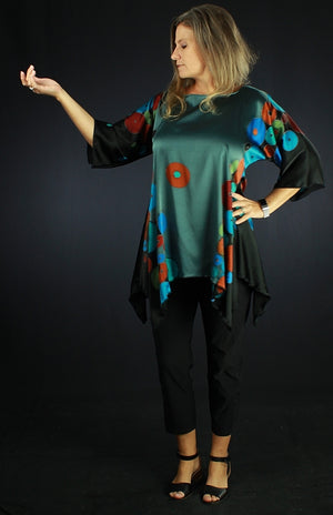 Circle Madness - Hand Painted Silk Blouse