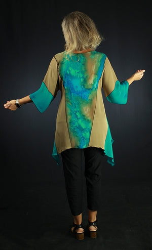 Spring Surprise - Hand Painted Silk Blouse