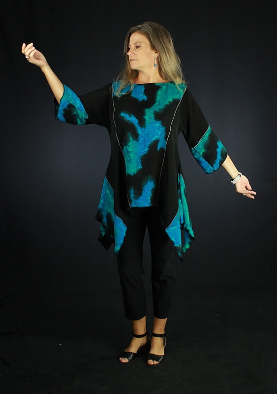 Black & Blue - Hand Painted Silk Blouse