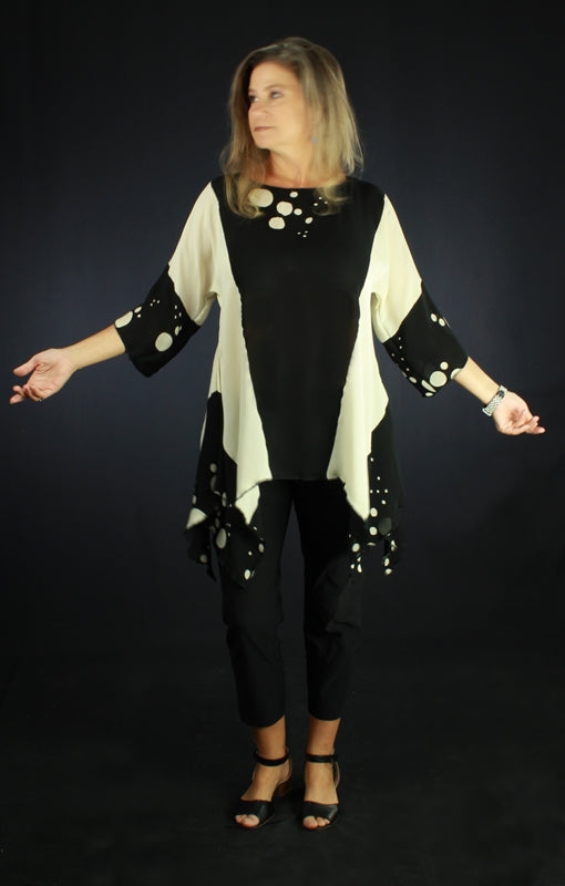 Black & White - Hand Painted Silk Blouse