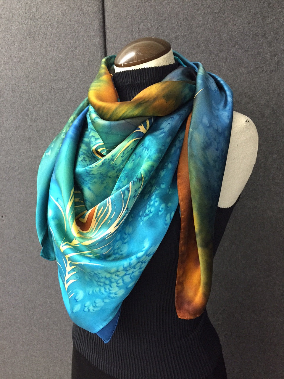 peacock flowers large - hand painted silk scarf / shawl / wrap - silksbytonya