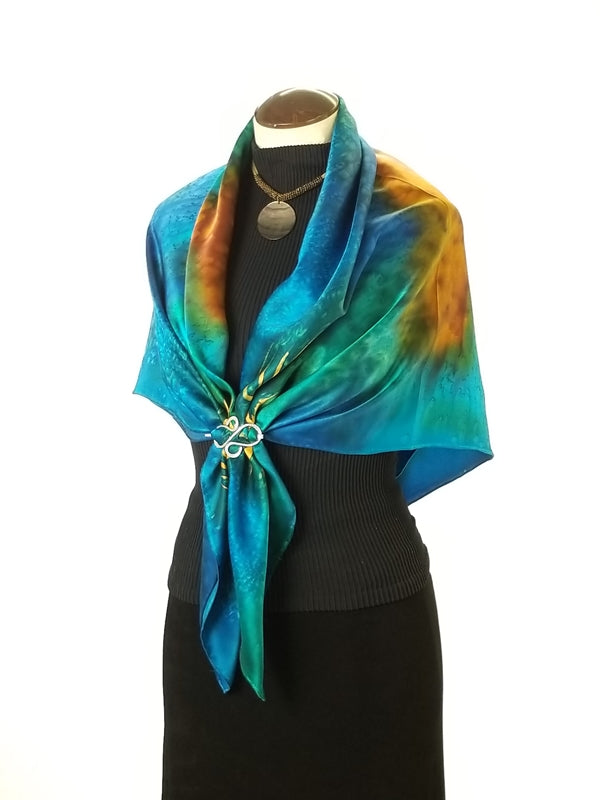 Peacock Flowers Large - Hand Painted Silk Scarf / Wrap